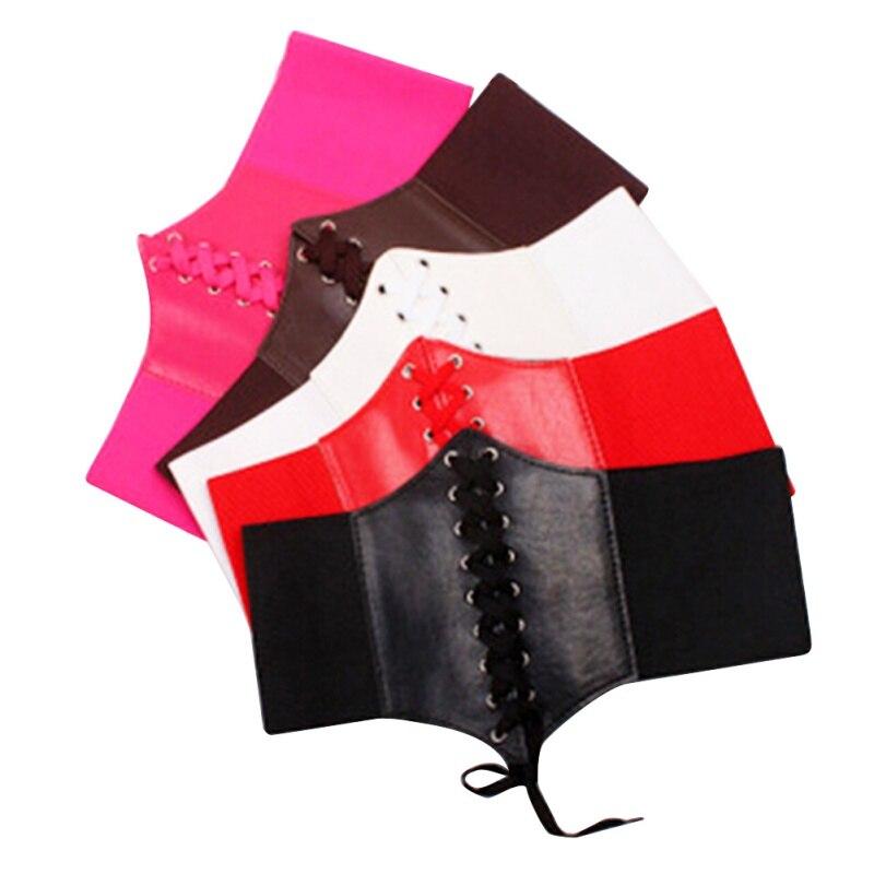 ea543be9e4fe Sexy mulheres PU de couro Shapers do corpo do laço até Trainer cintura  Cincher do espartilho Shapewear
