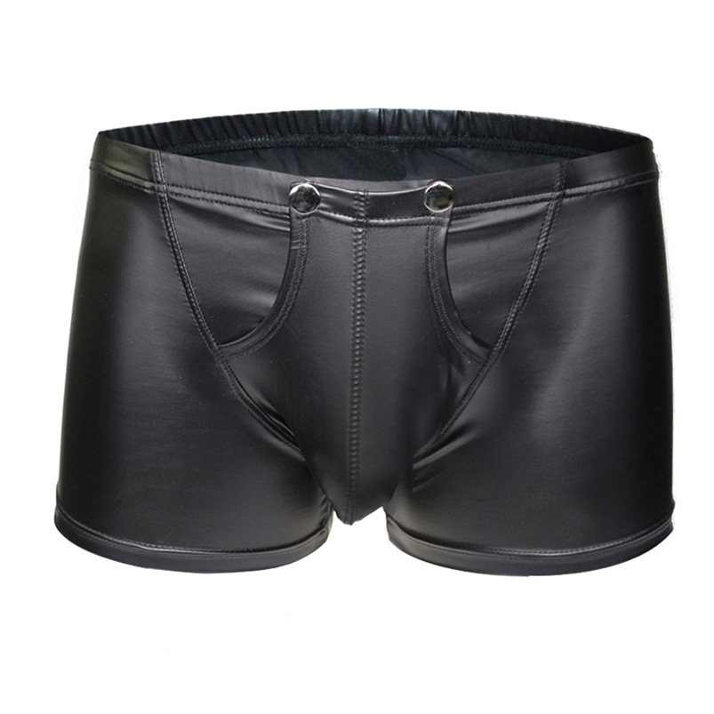 Sexy Panty 2018 New Brand Black Thong Men Artificial Leather Sexy Underwear Pouch Briefs Pants Wholesale #FJ21