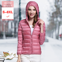 8XL Große Größe Neue Winter Frauen Weiß Unten Jacke Weibliche Ultra Licht Weiche Casual Unten Mantel Mit Kapuze Kurze Winddicht Feder mantel