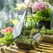 22cm Diamond Shape Geometric Glass Hanging Terrarium Air Plant Succulent Planter DIY Wedding Decoration Flowerpot Box Flower Pot
