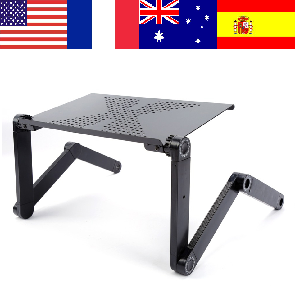 Computer Desks Portable 360 Degree Adjustable Foldable Laptop Notebook Lap PC Folding Desk Table Vented Stand Bed Tray