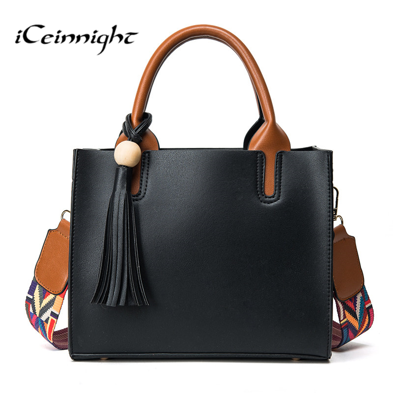 iCeinnight colorful belt women shoulder bag tassel Quality leather ladies handbags vintage casual tote luxury bolsa feminina forudesigns casual women handbags peacock feather printed shopping bag large capacity ladies handbags vintage bolsa feminina