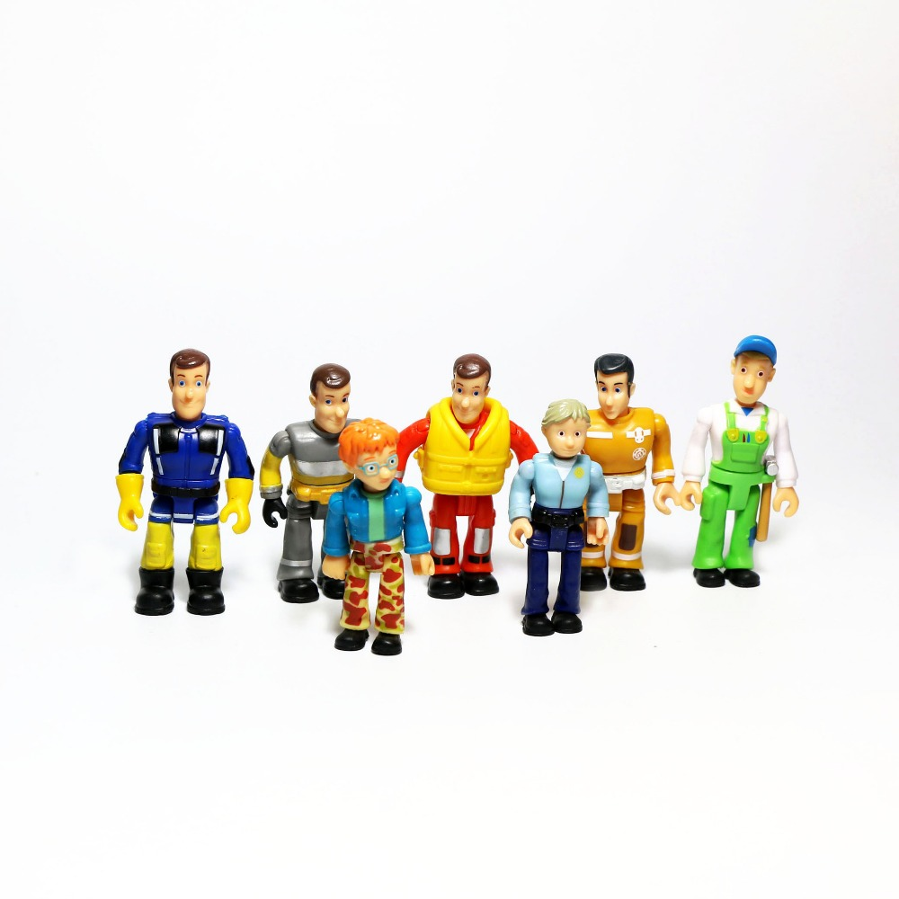 1pcs Cartoon Fireman Sam Bob Builder Action Figures Dolls Legs Arm Joint Can Move PVC Brave Rescue Block Toy