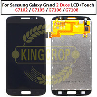 TOP Quality Touch Screen Digitizer LCD Display Assembly For Samsung Grand 2 Duos G7102 G7105 G7106 G7108 Phone Part