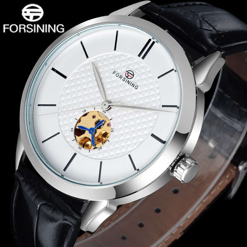 2017 FORSINING popular brand simple automatic self wind watch skeleton white dial transparent back case genuine leather band 2017 winner famous brand men fashion automatic self wind watches white dial transparent glass silver case stainless steel band