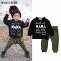 WANGSAURA 2 UNIDS Niño Bebé Niños MAMÁ Carta Negro de Manga Larga t-shirt + Pantalones Verdes Trajes Set chándal