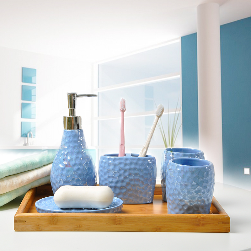 Mediterranean Blue Bathroom Ceramic Five Pieces Set Wedding Gift Fashion Brief Toothbrush Holder Cup Lotion Bottle Dish In Accessories Sets