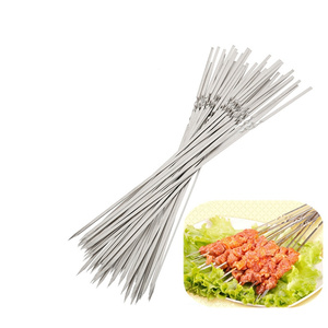 15pcs! Reusable 33cm metal long skewers Needle stainless steel brochette barbecue sticks grilling bbq tools easy kebab maker(China)