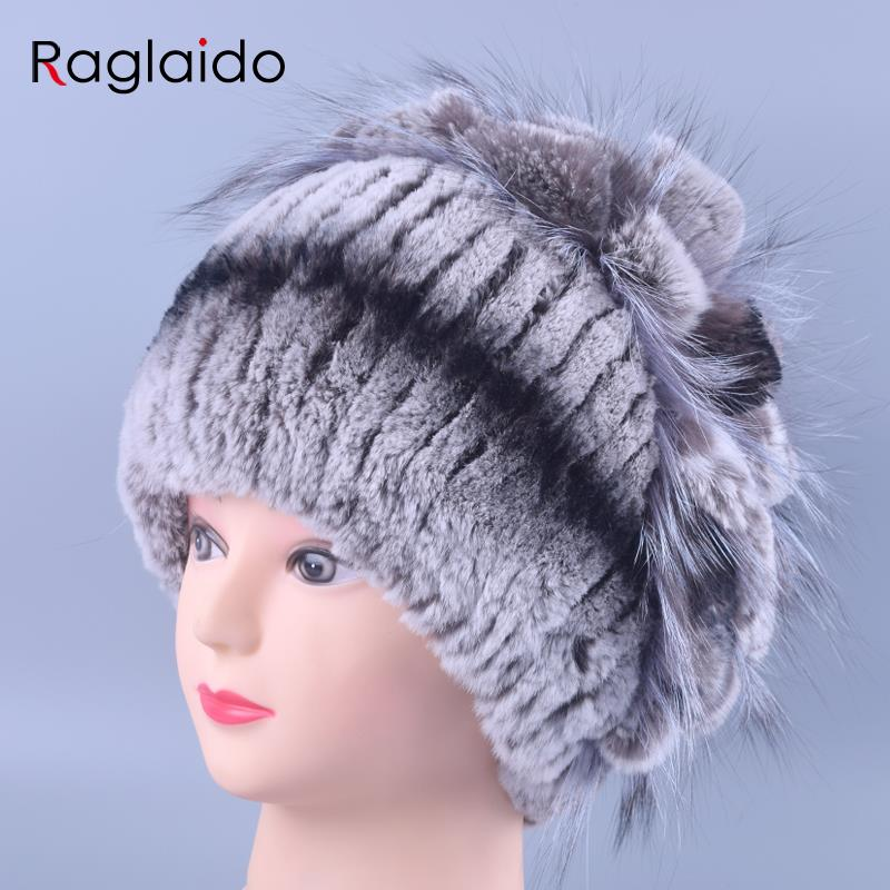 Winter Lady Fur Hat Women Beanie Real Fur Rex Rabbit Hats 100% Handmade Fashion Knitted Fluffy Caps Casual Tops gorro LQ11142