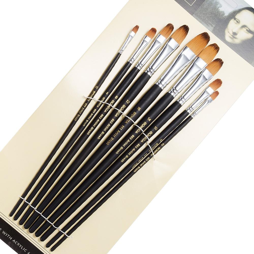 9 Pieces Long Handle Flat Art Paint Brush Value Set for Oils, Acrylic, Gouache & Watercolor Painting цена