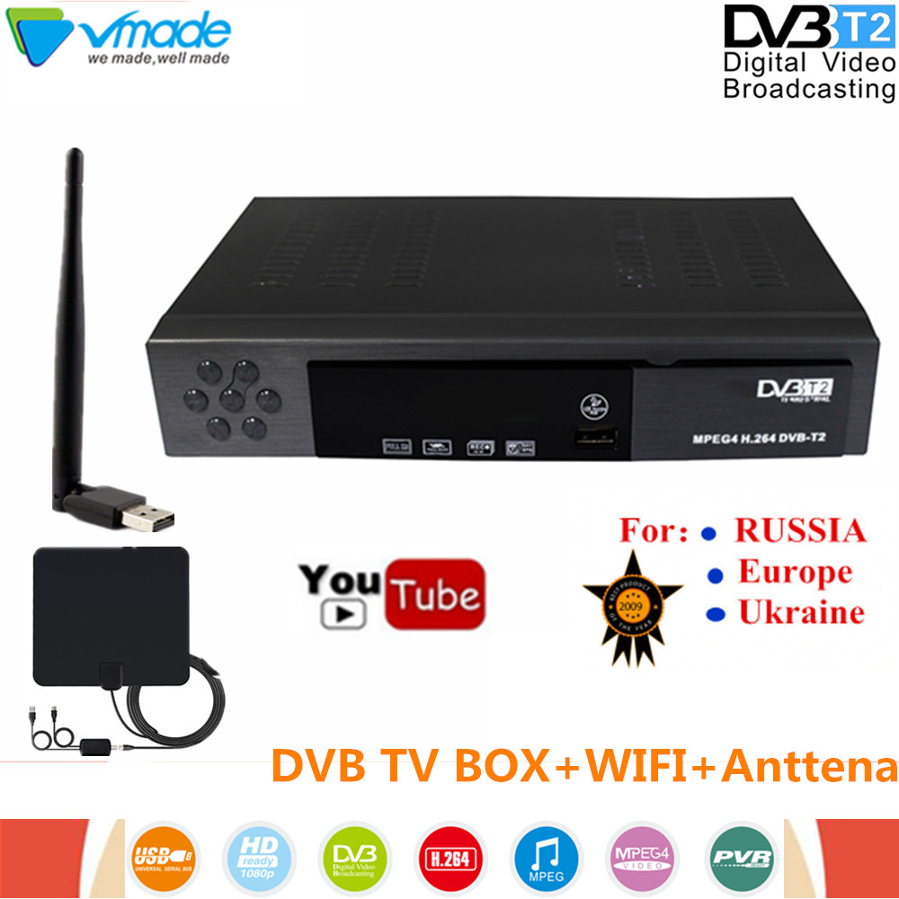 Vmade DVB T2 8902 digital Terrestrial TV receiver DVB T2 tv box supports Youtube H.264 with WIFI Dongle + TV Antenna set top box