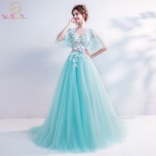 цена на Walk Beside You Mint Green Prom Dresses Girls V-neck Half Sleeves Lace Applique Sweep Train Evening Gowns Vestido De Graduacion