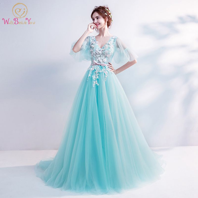 Walk Beside You Mint Green   Prom     Dresses   Girls V-neck Half Sleeves Lace Applique Sweep Train Evening Gowns Vestido De Graduacion