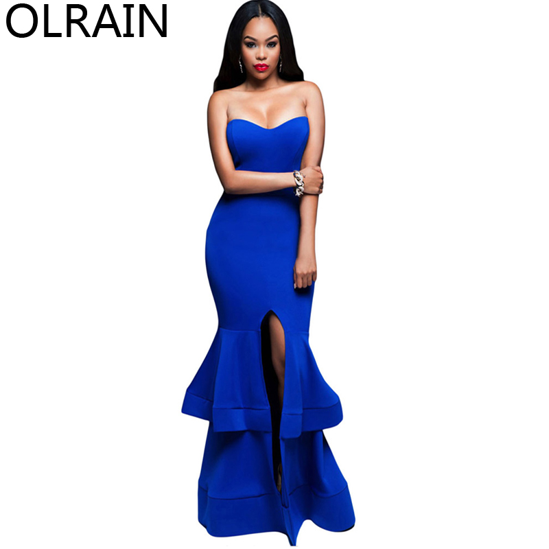 Detail Feedback Questions about Olrain Women s Sleeveless High Waist  Strapless Backless Double Layer Hem Front Split Bodycon Party Long Dress on  ... 127e56934580