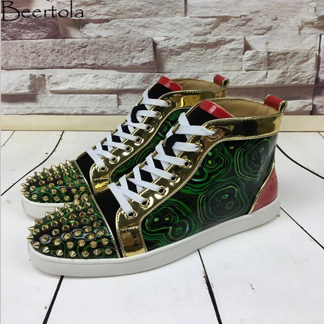 Beertola New Casual Shoes Men Mixed Color Green Circle Head Spikes  Chaussure Homme Luxury Brand Leisure Shoes Party Shoes Male ef83625e5403