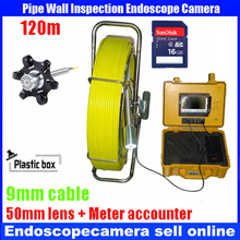 Bestwill 120m cable waterproof endoscope Sewer Pipe Wall Sewer Inspection Camera System with Cable accounter with DVR recorder