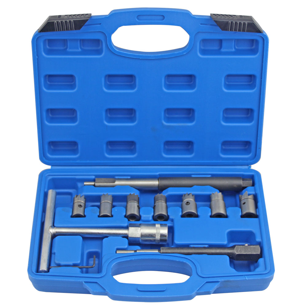 10pcs Diesel Injector Seat Cutter Set Cleaner Carbon Remover font b Tools b font Kit