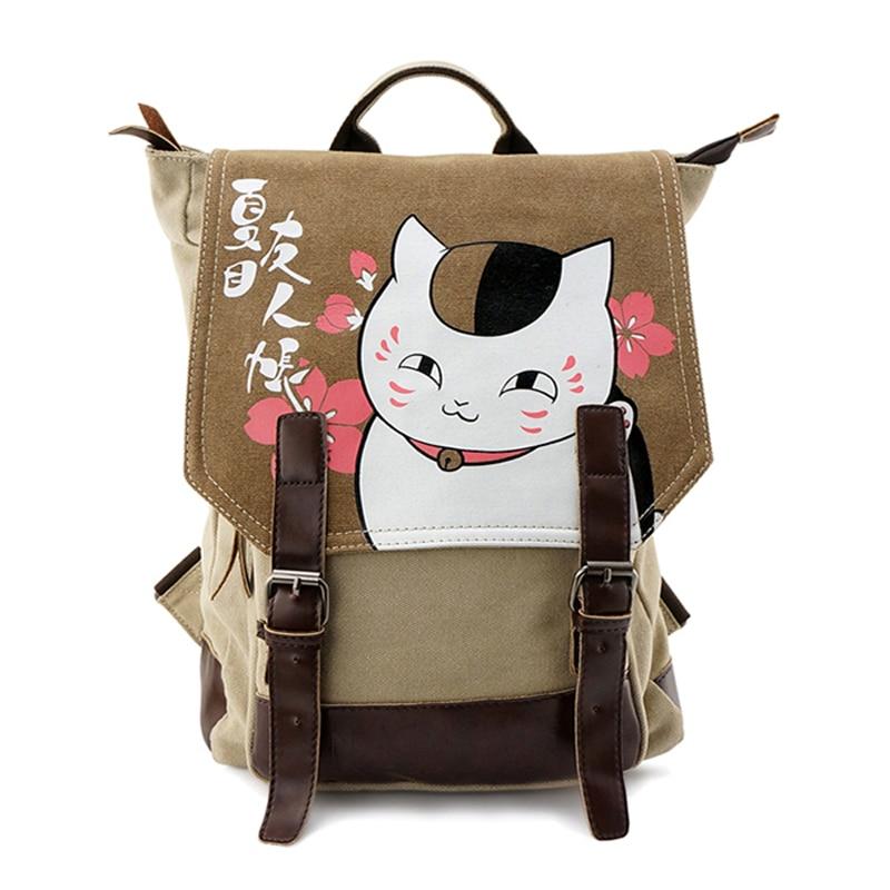 Japanese Anime Harajuku Natsume's Book of Friends Cat Teacher Printing Washed Canvas School Bags for Teenagers Mochila Feminina praxis ii middle school mathematics 5169 book online praxis teacher certification test prep