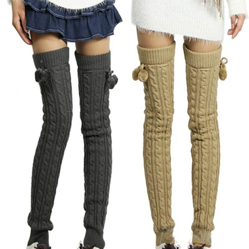 женская мода зима вязание крючком вязаный чулок лосины гетры