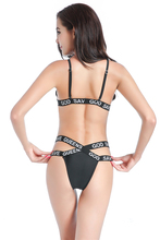 Women Sexy Swimwear Bra God Save Queens Letters Print Beachsuit Bikini Suit Bandage Triangle Swimsuit Black Bikini Set