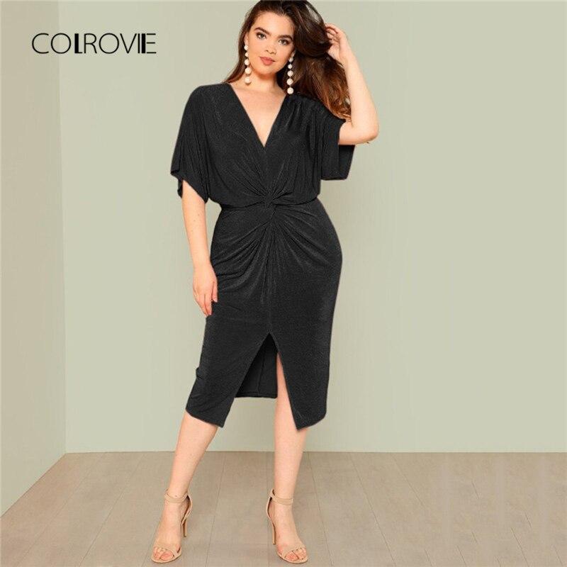 COLROVIE Plus Größe Schwarz Twist Frontseiten-schlitz Batwing Lange Kleid Frauen 2018 Neue Sexy Party Kleid Vintage Elegante Sommer Kleider