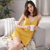 Nightgowns Female Summer Ice Silk Thin Sexy Satin Silk Sling Bottoming Dress Solid Color Nightdress Woman Sleepshirts X2877