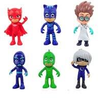 PJ Masks 6Pcs Lot 7 5 9 5cm Pj Characters Catboy Owlette Gekko Cloak Masks Action