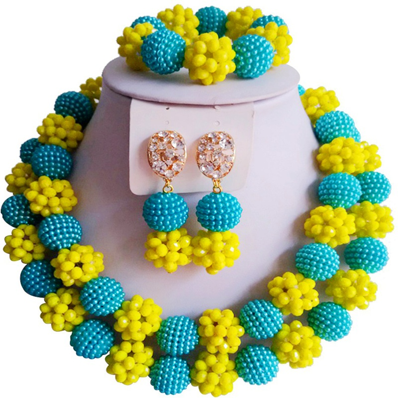 Ensembles de bijoux de fête en cristal ethnique africain bleu Opaque jaune fait main pour les filles 2C-ZZSJ-58