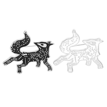 Skeleton Fox Enamel pin Cartoon Animal White Black Brooches Badge Lapel Pin Icon Dark Bone Pins Jewelry Gift for friends