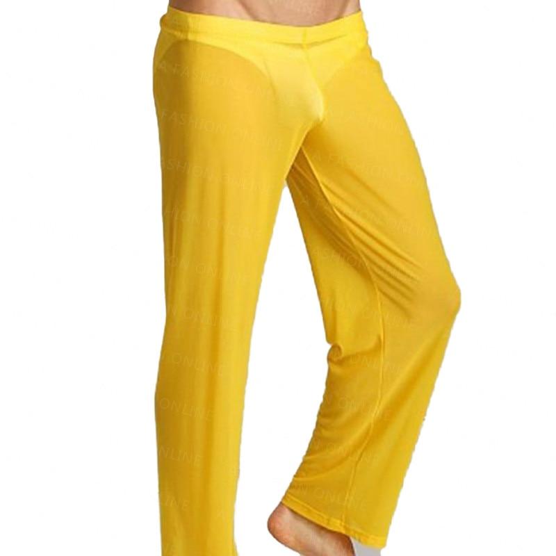 New Arrival Brand New Sexy Men's Loungewear Pants Male Fashion Gauze Lounge Pants Solid Color Sleep Bottoms Homewear Pants