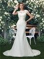 Шифон Русалка Свадебные Платья O образным вырезом До Пола Cap Рукава Выпало Дешевые Белые Свадебные Платья 2016