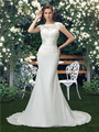Chiffon Mermaid Wedding Dresses O neck Floor-Length Cap Sleeves Dropped Cheap White Wedding Gowns 2016