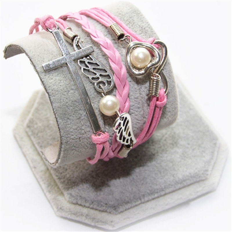 L0203 New Hot 2017 Popular Multilayer Braided Bracelets Vintage Cross Multicolor Woven Leather Bracelet Bangle girl - BILL JEWELRY CO,.LTD Min order $8 store