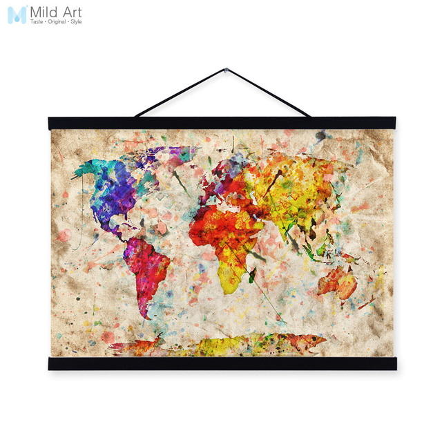 Vintage Retro Colorful World Map Shabby Chic Wood Framed Canvas - Colorful world map painting