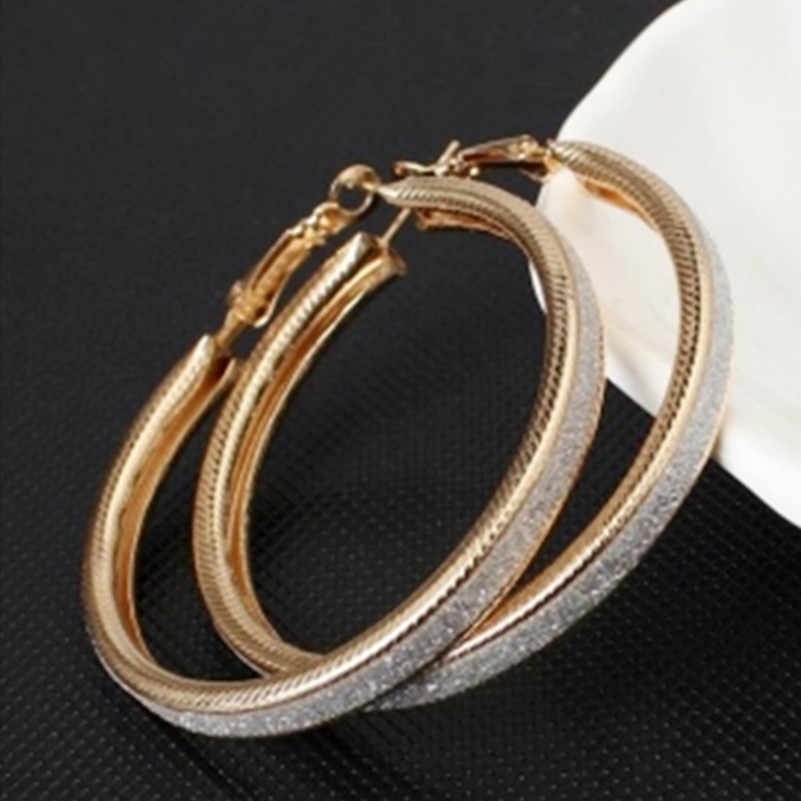 Vintage Gold-Color Big Circle Hoop Earrings for Women Girl Ear Clip Crystal Fashion Earring Party Jewelry Accessories Gift e047