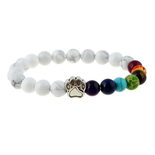 Natural Stone Bead Yoga Bracelet Men Women Dog Paw Elastic Rope Bead Bracelet 7 Chakra Healing Balance Rainbow Bracelet Jewelry 1
