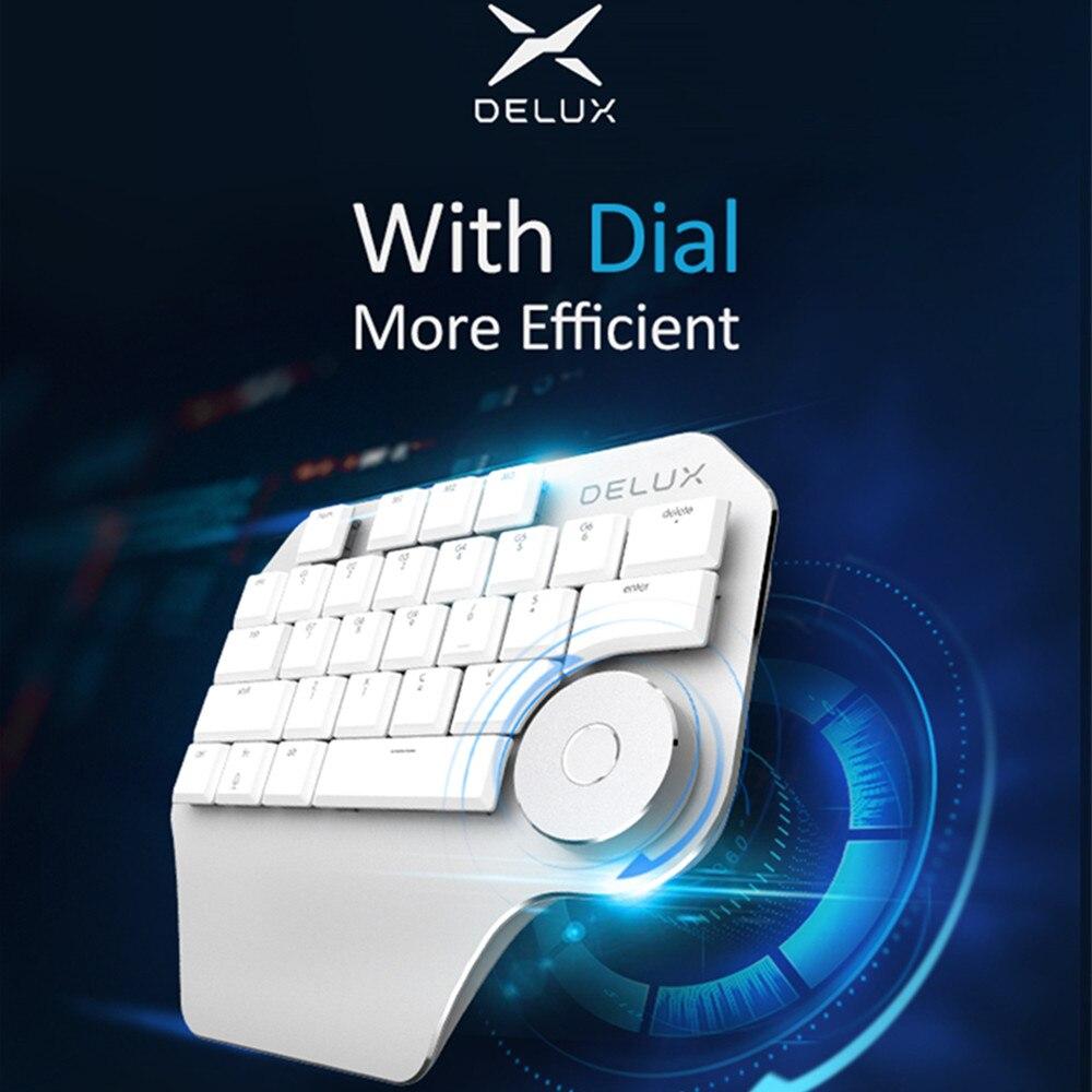 Clavier de concepteur ergonomique Delux T11 cadran intelligent 3 touches personnalisables de groupe clavier pour le logiciel de conception de Windows Mac de PS Wacom