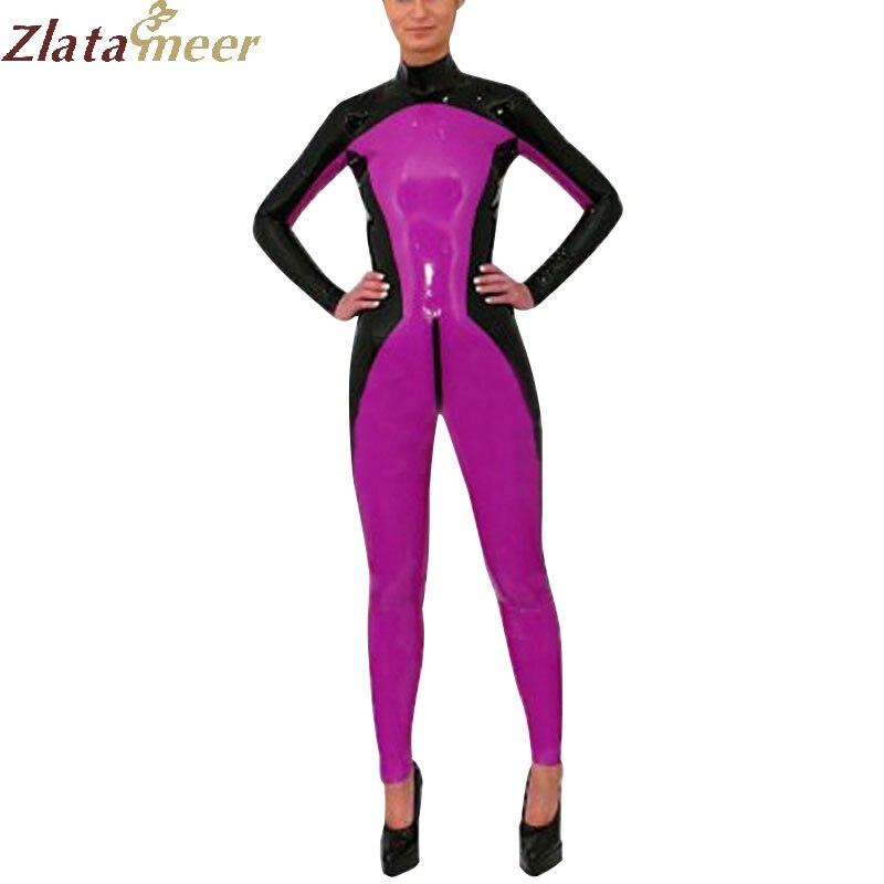 Catsuit en Latex de caoutchouc pour femme fait à la main Zentai fétiche collants corps costumes LC264