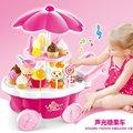 Venta caliente niños Juegos de Imaginación de juguetes con música ligera crema de caramelo de hielo buque barbacoa mini carro del Cumpleaños de Los Niños regalos