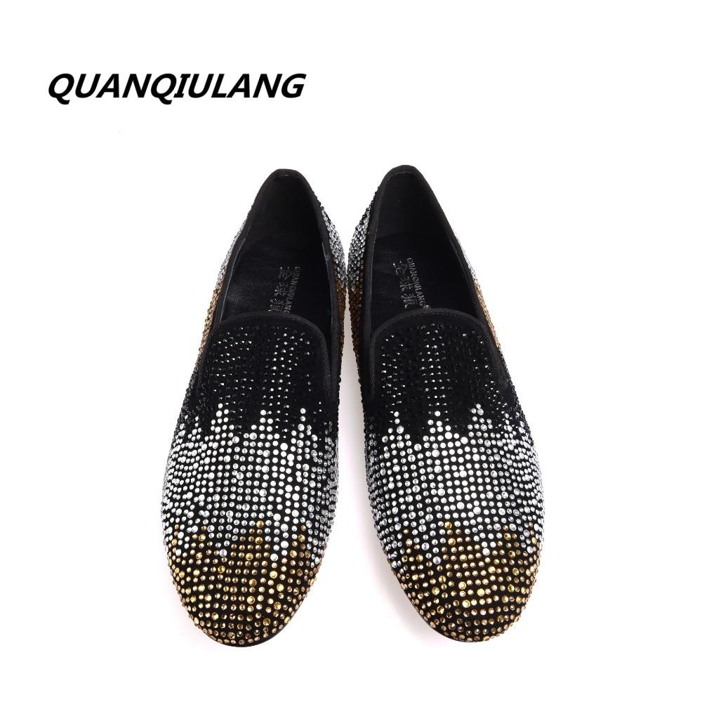 2017 جديد مصمم أحذية ذهبي اللون الأحمر الماس أحذية الماس الجلود تصميم الأزياء الرجال الاحذية 38 47-في أحذية مطاطية رجالي من أحذية على  مجموعة 3