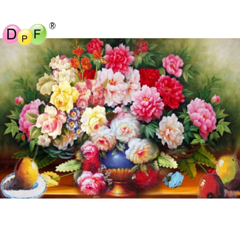 Kvetoucí květiny 3d diy diamantové malování kříž steh sedací - Umění, řemesla a šití
