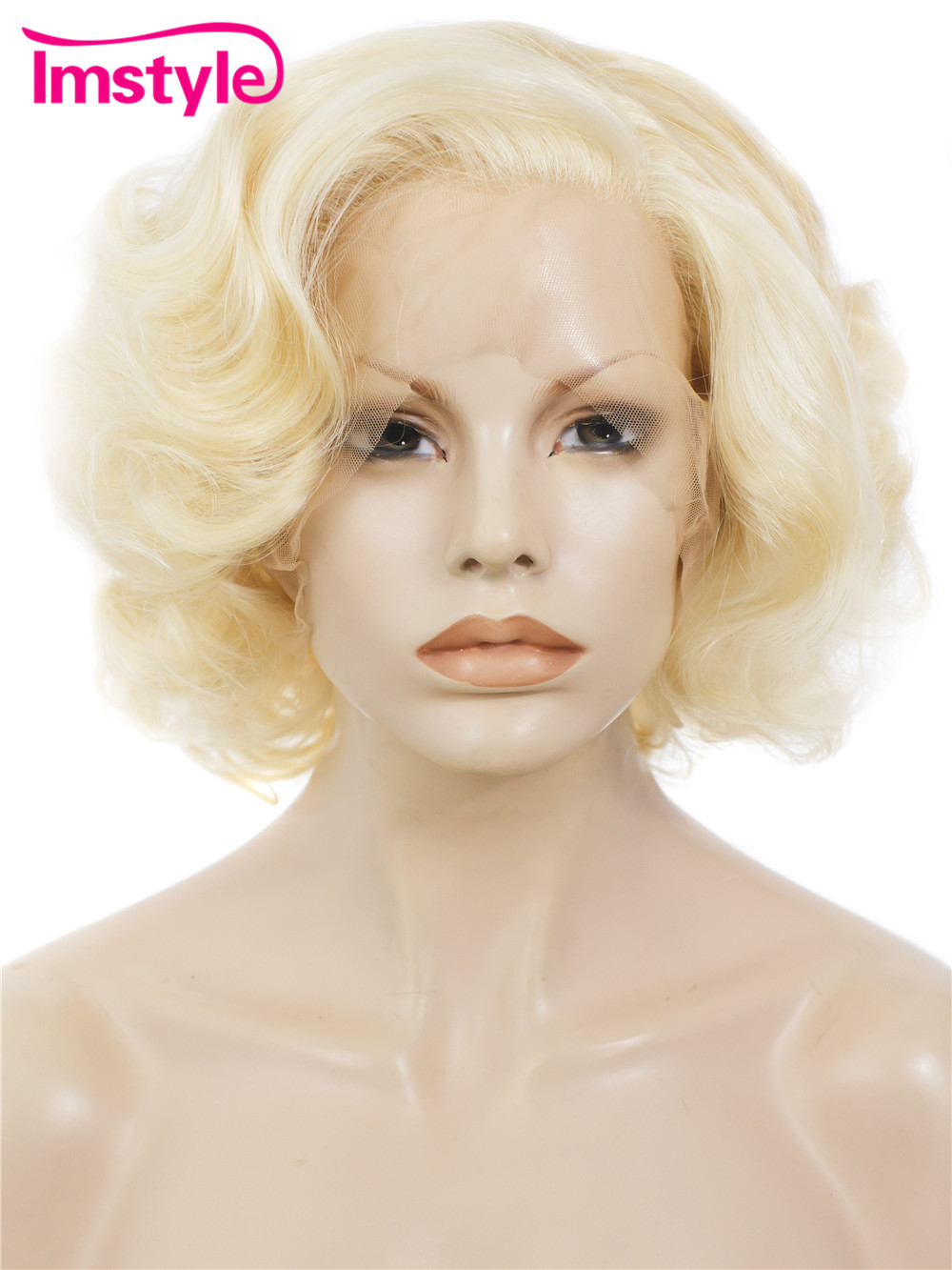 Imstyle Short Blonde Bob Wig Synthetic Lace Front Wig 10 inch 613 Natural Cosplay Heat Resistant Fiber