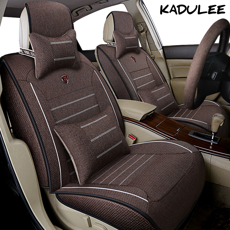 KADULEE flax car seat cover set for lada kalina vesta largus priora granta xray lada 2107 2114 Auto accessories car-styling car cover car cover sunshine protector sun protection for lada 2107 2110 2114 granta kalina largus niva 4x4 priora samara vesta