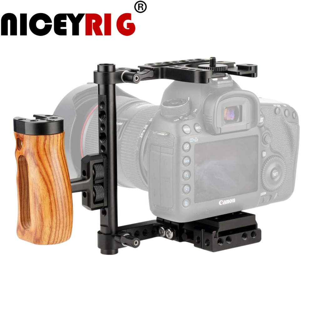 NICEYRIG Universal Bracket For Canon For Nikon For Panasonic DSLR Camera Cage Wood Hand Grip Photography 1/4 Dslr Cell Lumix Gh5