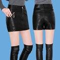 2016 nuevo invierno más tamaño beauty adelgazamiento pantalones falda pantalones cortos botas pantalones de cuero de cuero falda femenina