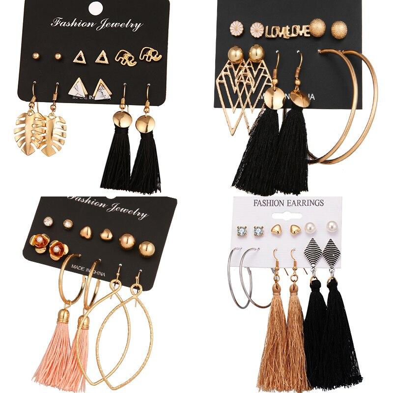 VKME 5 New Fringed Leaves Ladies Earrings Bohemian Geometric Earrings Fabric Women Fashion Jewelry 2019