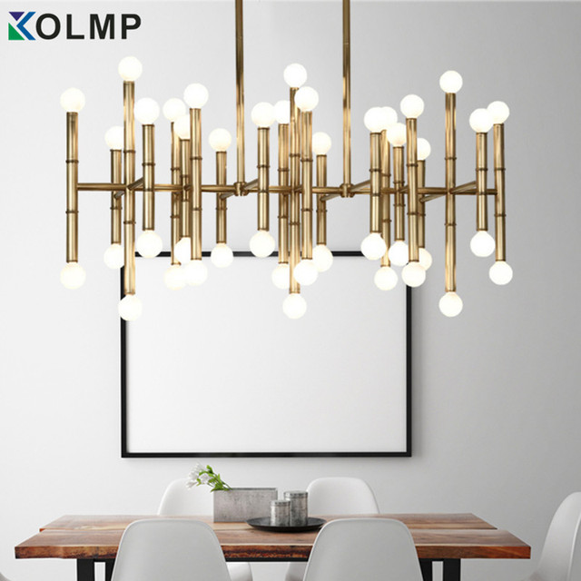 Designer Home Lighting Throughout Modern Rectangular Chandelier Bamboo Droplight Light Bronze Color Designer Home Table Lighting 100240v Gold