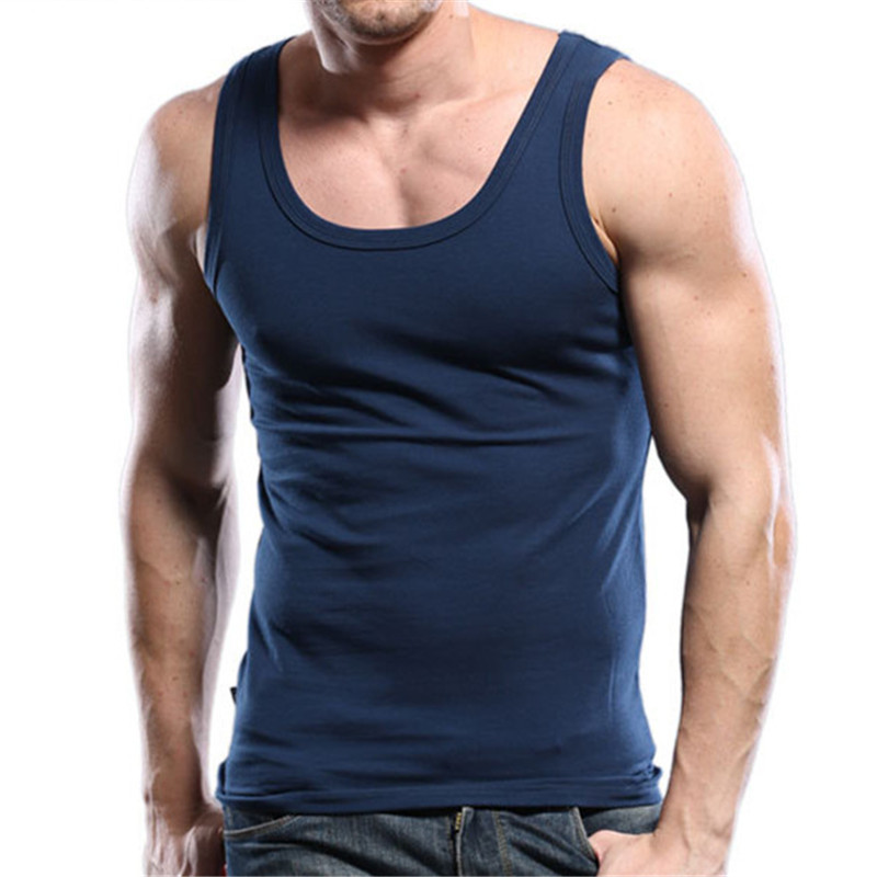 Bergaya Fitness Mens Tank Top Slim Fit Plain Blank Square Neck Nany Blue tanpa lengan Shirt Undershirt 2019 Pakaian Mens 1310