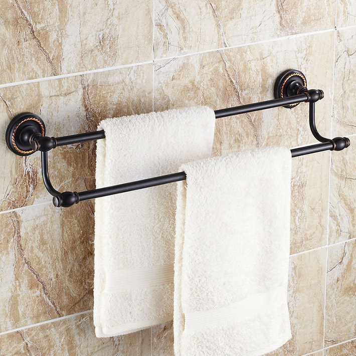 Bathroom accessories elegance wall mounted mounted for Double towel rails for bathrooms
