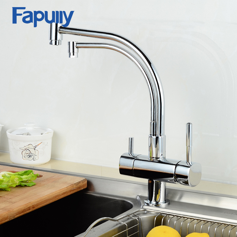 Fapully Kitchen Faucet with Filtered Water 3 way Mixer Cold and Hot Tap Deck Mounted Dual Handles Thermostatic Faucets 256-33C narcyz drinking water filter faucet deck mounted mixer valve chrome single hole purifier 3 way water kitchen faucet mixer xt 32